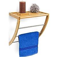 Relaxdays Wandhandtuchhalter aus Bambus mit 3 Handtuchstangen aus verchromtem Metall HBT 40 x 38 x 24,5 cm Badregal plus Badetuchhalter als Handtuchregal feuchtigkeitsresistentem Holz, natur