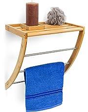 Relaxdays - Toallero con bandeja estante toallas baño bambú, 40 x 38 x 24.5 cm