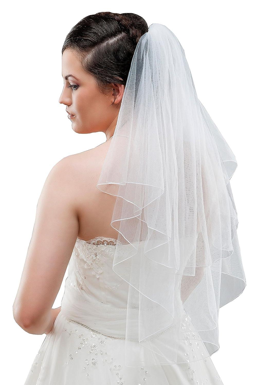 Braut Schleier aus Feintüll 2-stufig zum Brautkleid, 80 cm creme/ivory