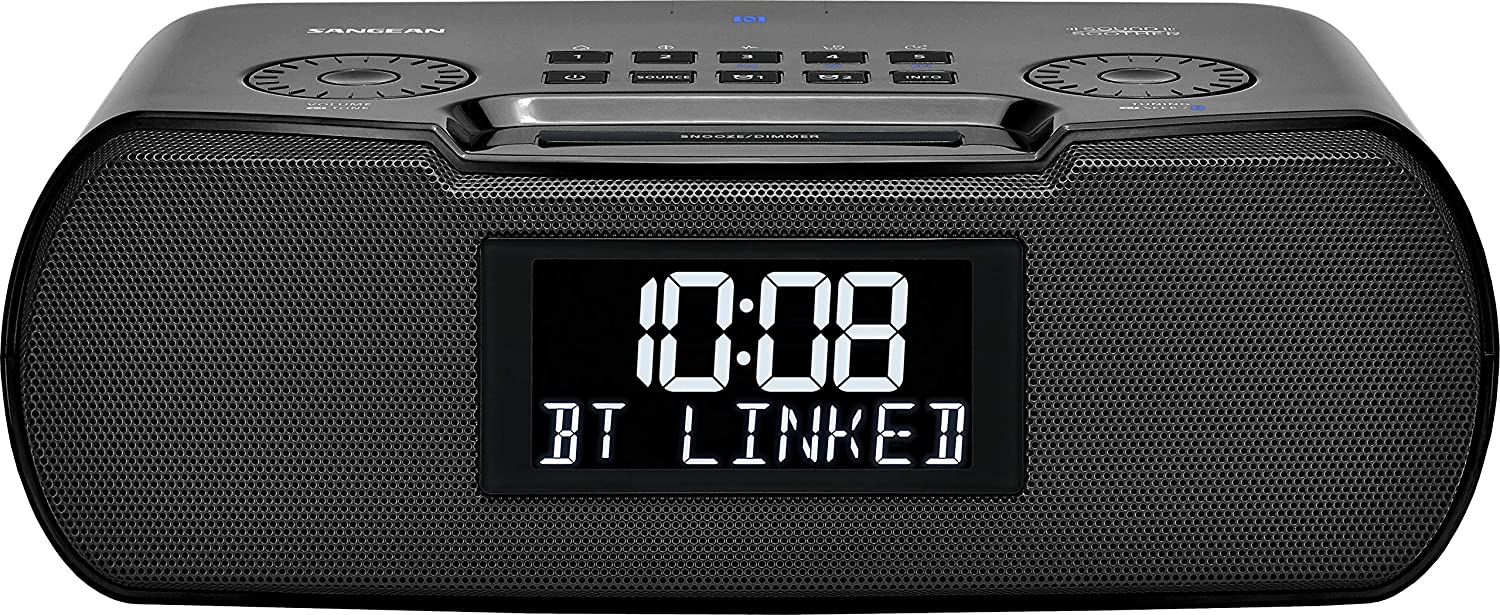 Sangean RCR-30 FM-RBDS/AM/Bluetooth/Aux-in Digital Tuning Clock Radio with USB Phone Charging and Sound Soother, Black
