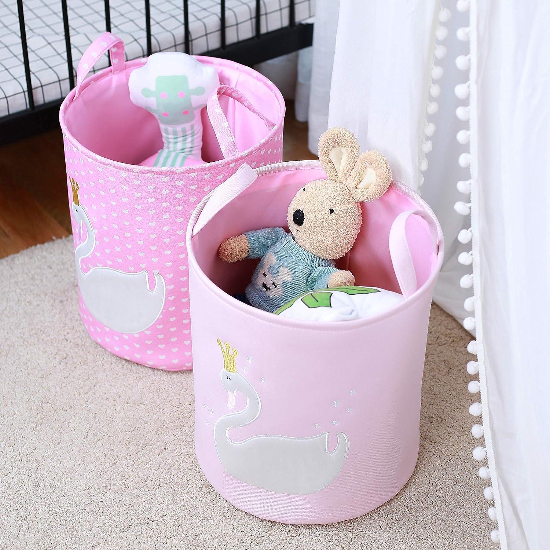 Inwagui Kinder Aufbewahrungskorb Faltbare Baby W/äschekorb Stoff Spielzeug Aufbewahrungkiste M/ädchen Schwan Korb Haushalt Organizer Rosa