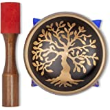 """Tibetan Singing Bowl – Hand Crafted Chakra Singing Bowl Set with Mallet & Cushion – Brass 4"""" Sound Therapy Bowl for…"""