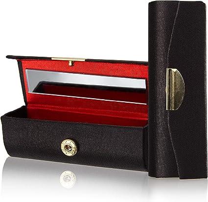 Estuche para pintalabios con cierre de botón de la marca Fantasia. Longitud: 8,7 cm, altura: 3 cm, color negro, con espejo: Amazon.es: Belleza