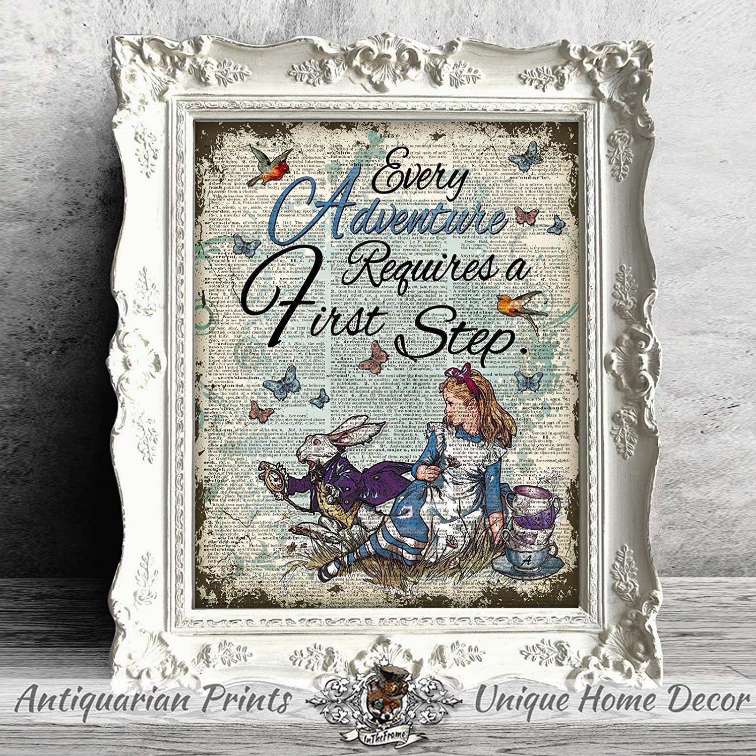 Home Garden Tapestries Alice In Wonderland Decor On Antique Dictionary Book Page