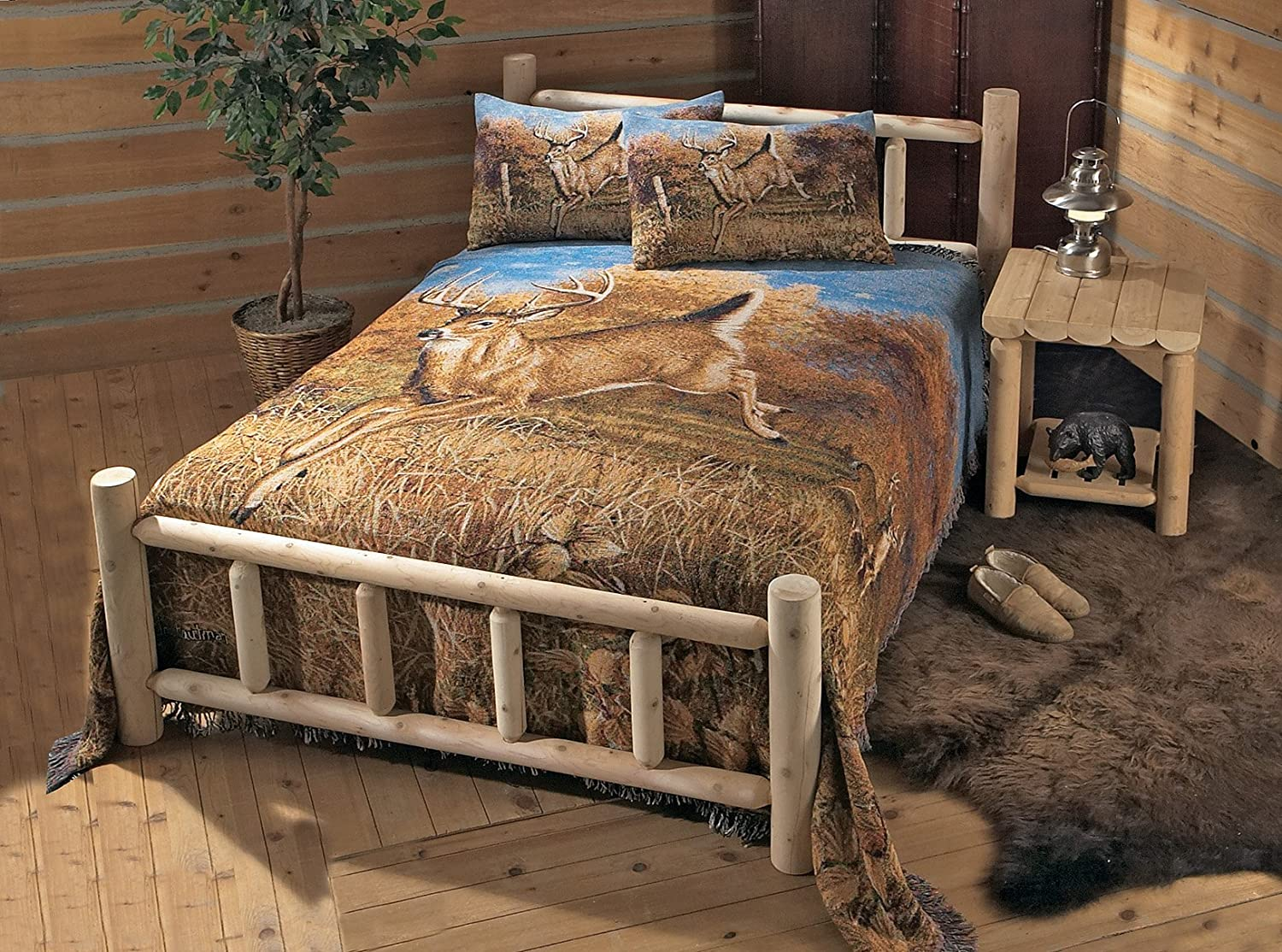 Amazon.com: Natural Rustic Cedar Log Style Bed (Twin): Kitchen ...