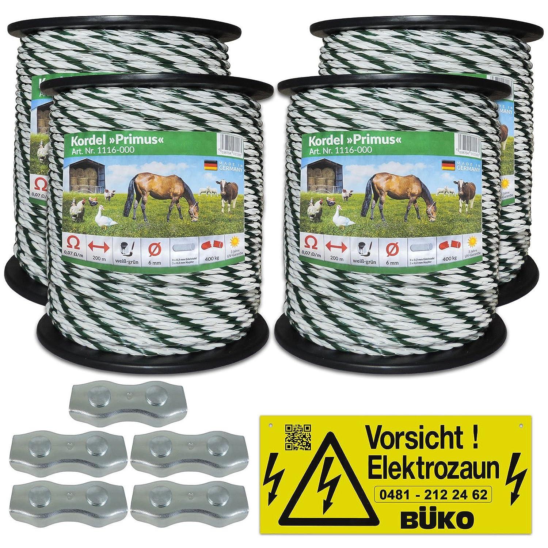 Eider Kunststofflitze 6mm mit Litzenverbindern Weidezaunseil Weidezaun Litze Kordel