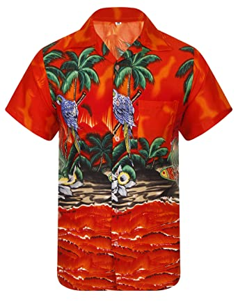 fd218a81 Hawaiian Shirt Mens Loud Parrot Aloha Funky Hawaii Honolulu Holiday Beach  Beer Stag Palm Tree Summer