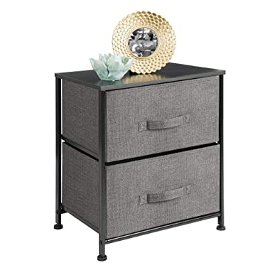mDesign Vertical Dresser Storage Tower - Sturdy Steel Frame, Wood Top, Easy Pull Fabric Bins - Organizer Unit for Bedroom, Hallway, Entryway, Closets - Textured Print - 2 Drawers - Charcoal Gray/Black