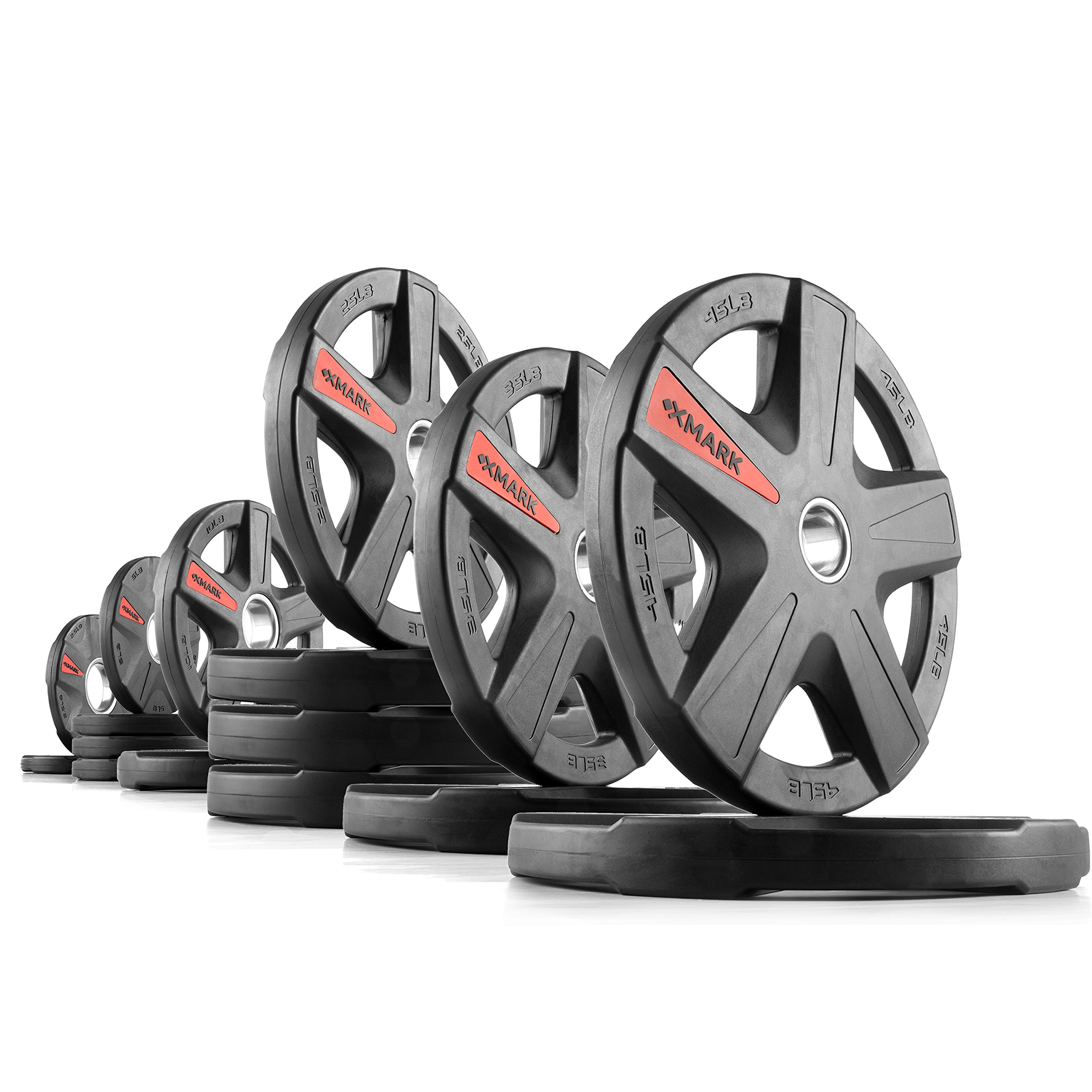 XMark Texas Star 305 lb Set Olympic Plates, Patented Design, One-Year Warranty, Olympic Weight Plates