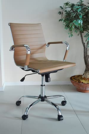 eames ribbed chair tan office. A.C. Milan Tan Designer Eames Style Design Computer Contemporary Reception Meeting Office Chair Ribbed
