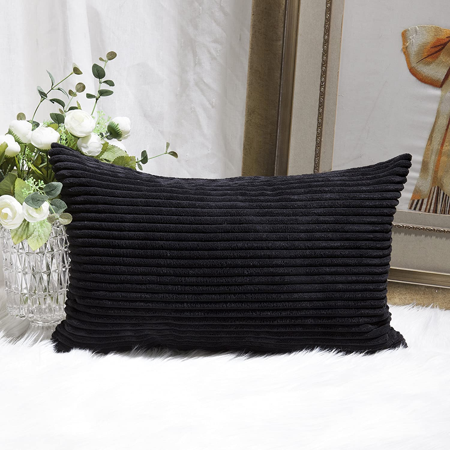 Home Brilliant Decor Holiday Decoration Striped Corduroy Solid Cushion Cover Throw Oblong Pillowcase for Lumbar, 12 x 20, Jet Black