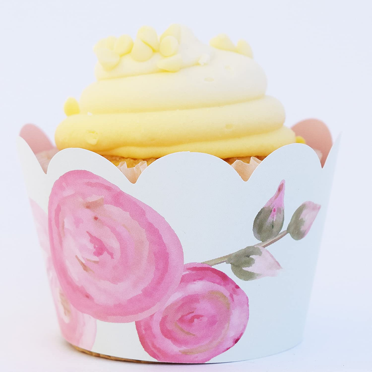 Amazon.com: Pink and Gold Party Supplies 1st Birthday, 36 Floral ...