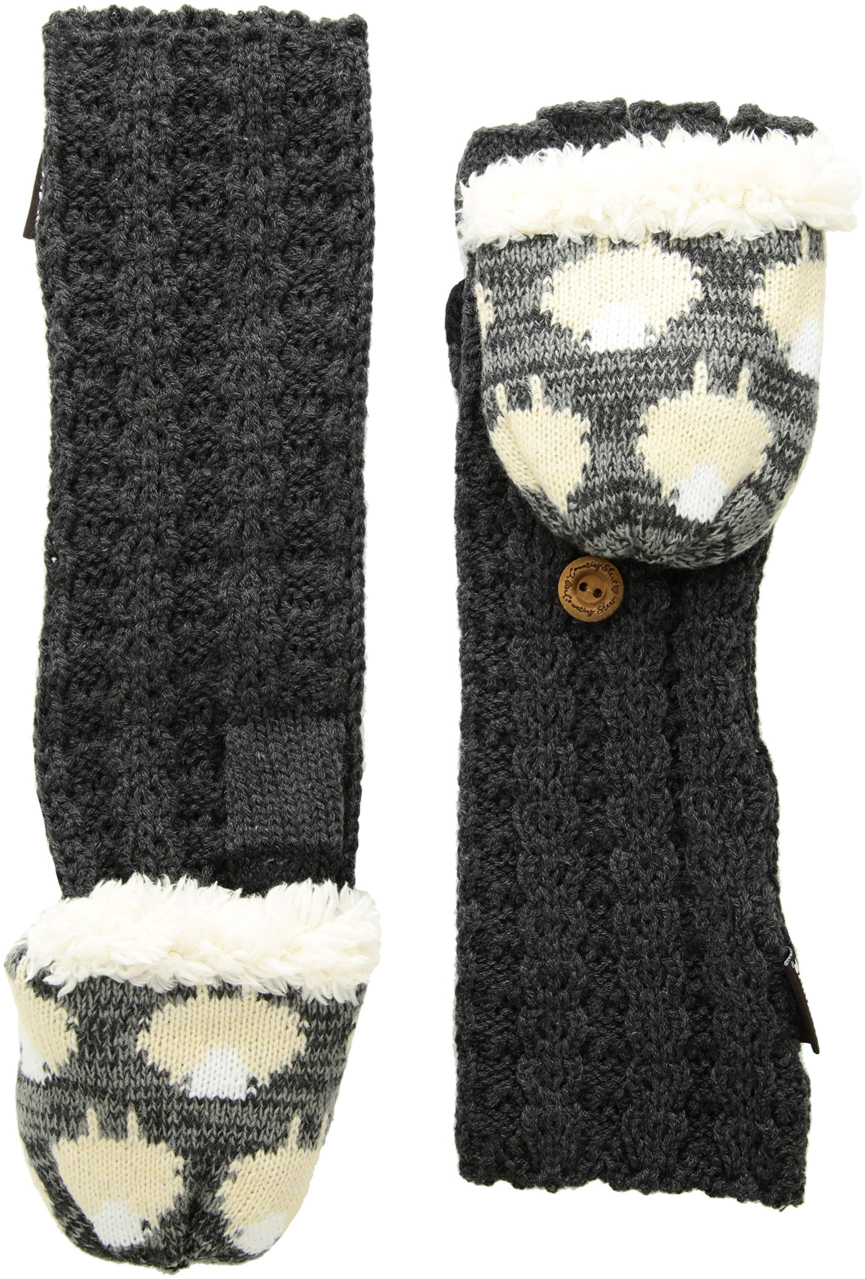 Muk Luks Women's Long Flip Mittens, dark grey heather, OSFM