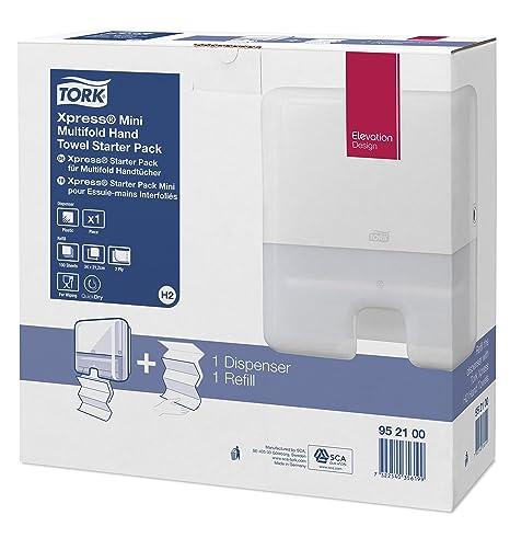 Tork 952100 - Pack con dispensador de toallas interdobladas y recambio de toallas de mano, color blanco: Amazon.es: Industria, empresas y ciencia