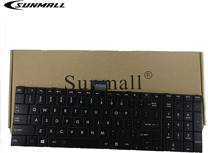 SUNMALL Keyboard Replacement for Toshiba Satellite C850 C855 C855D L850 L855 L855D L875D P850 P875 P855 Black US Layout(6 Months Warranty)