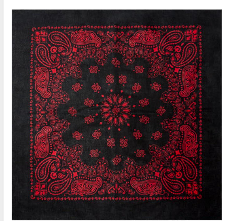 Grande Negro algodón plaza Bandana Bufanda Redonda Western Rojo Paisley 27pulgadas TC-Accessories