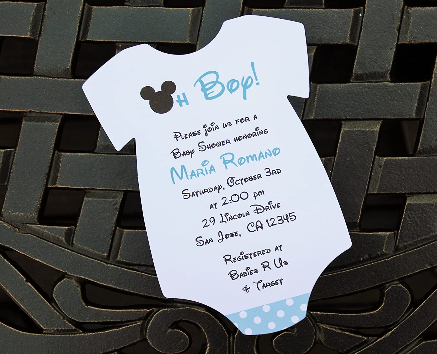 Amazon.com: Set of 10 Blue Mickey Mouse Baby Shower Invitations ...