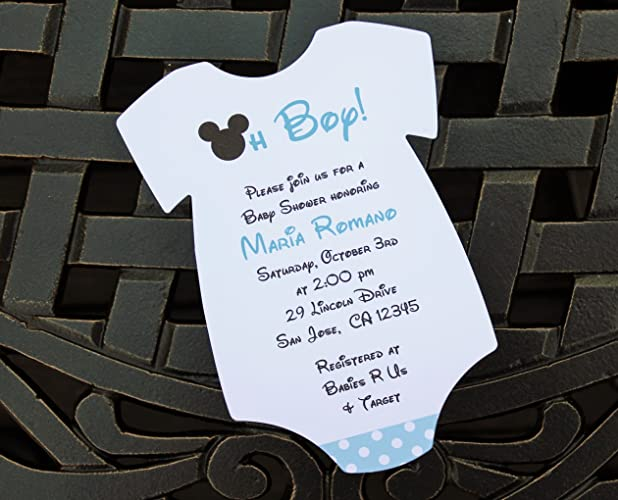 Set Of 10 Blue Mickey Mouse Baby Shower Invitations   All Wording  Customized   Boy Baby