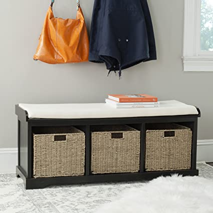 Safavieh American Homes Collection Lonan Black And White Wicker Storage  Bench
