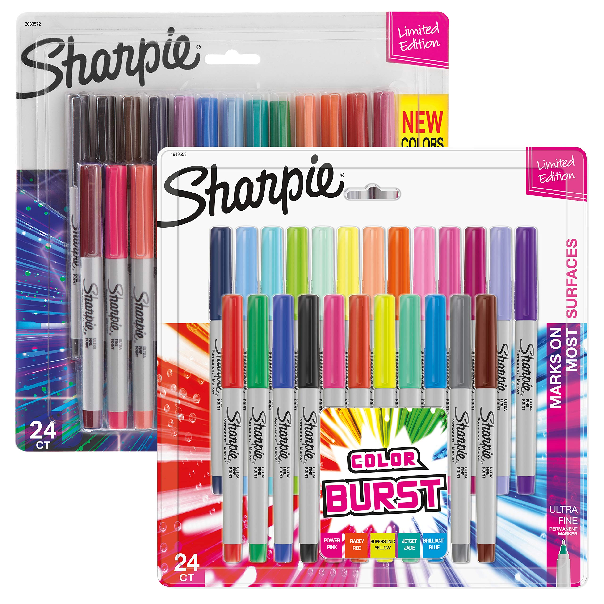 Sharpie Permanent Markers, 24-Count Cosmic Color & 24-Count Colorburst Ultra-Fine Point Markers, Total of 48 by Sharpie (Image #1)