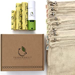 Cotton Mesh Produce Bags Grocery Reusable with Beeswax Food Wraps / Organic / Washable Vegetable Bags with Drawstring and Tare Weight Tags / Muslin Bulk Bag / Large Small Medium / Set of 12
