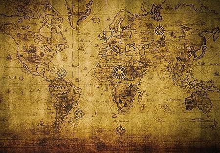 Welt-der-Träume Photo Wallpaper Mural Vintage World Map   P4 (254cm ...