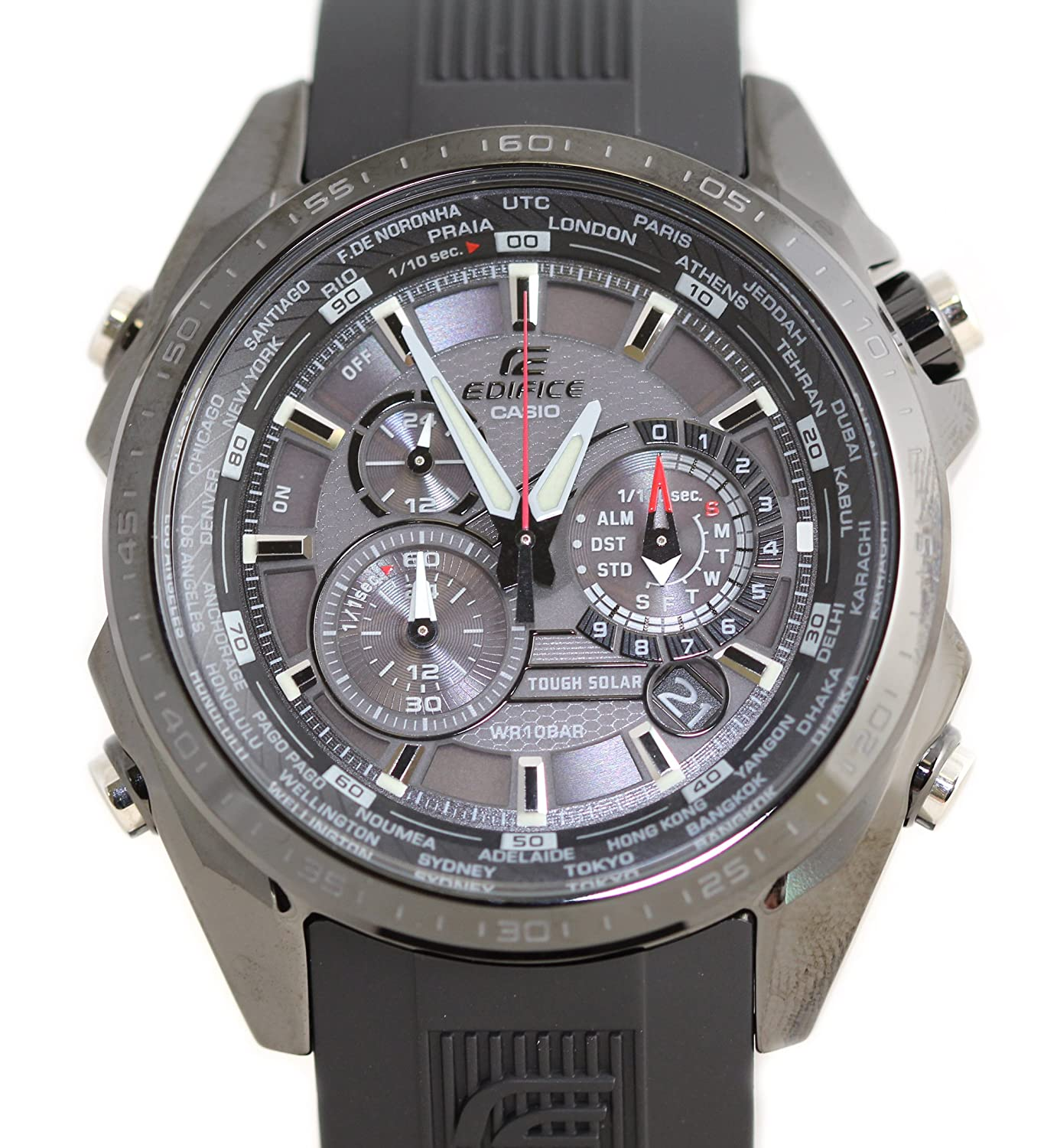 Black Stainless Steel Solar Edifice Black Label Chronograph World Time Analog Strap: Amazon.es: Relojes
