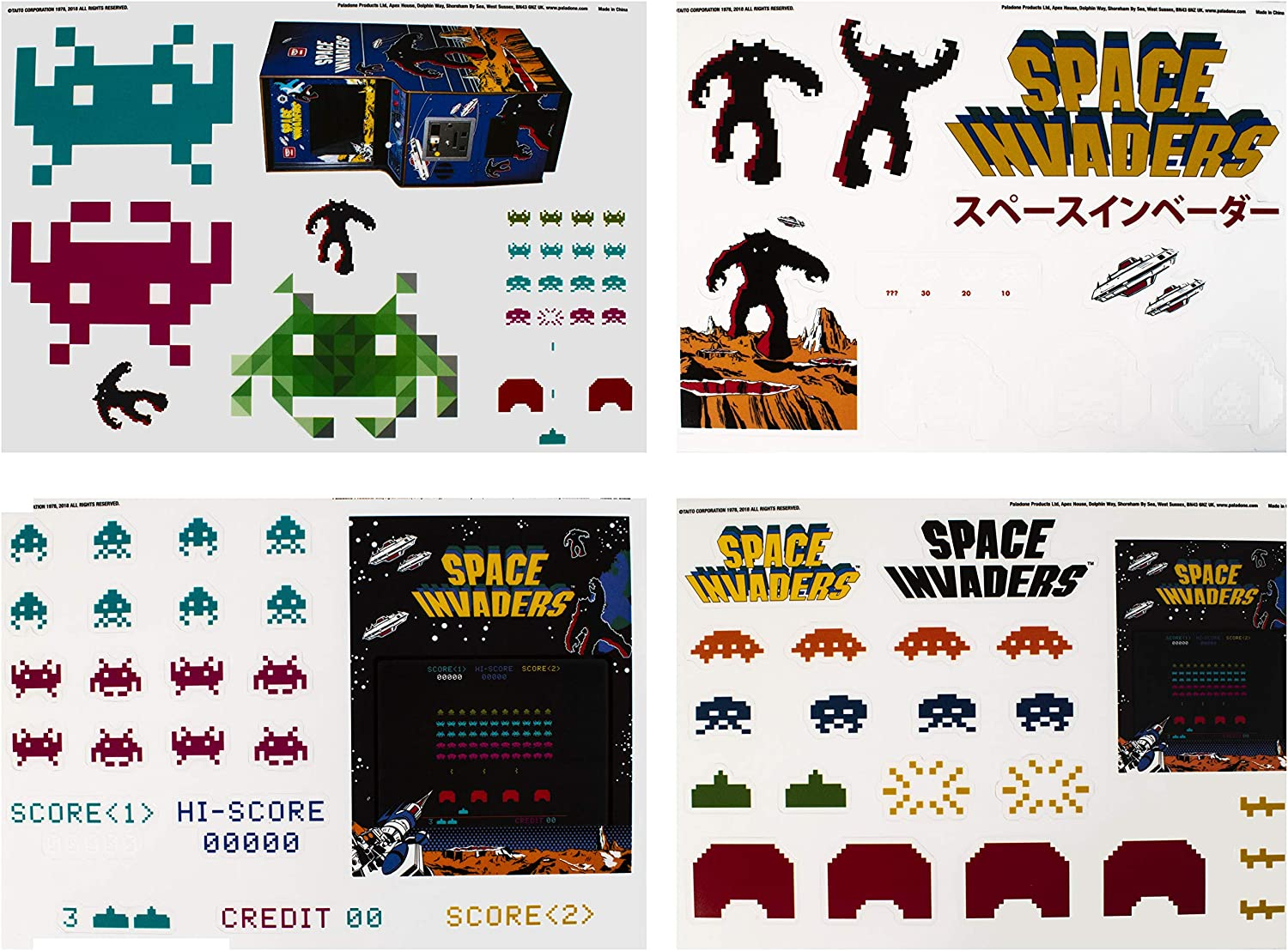Paladone Space Invaders Gadget Decals, Vinyl Sticker Clings, 4 Sheets