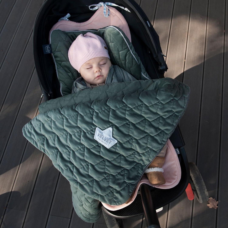 enfant Denim Sevira Kids matelass/ée et surpiqu/ée en Velvet Couverture avec oreiller pour b/éb/é