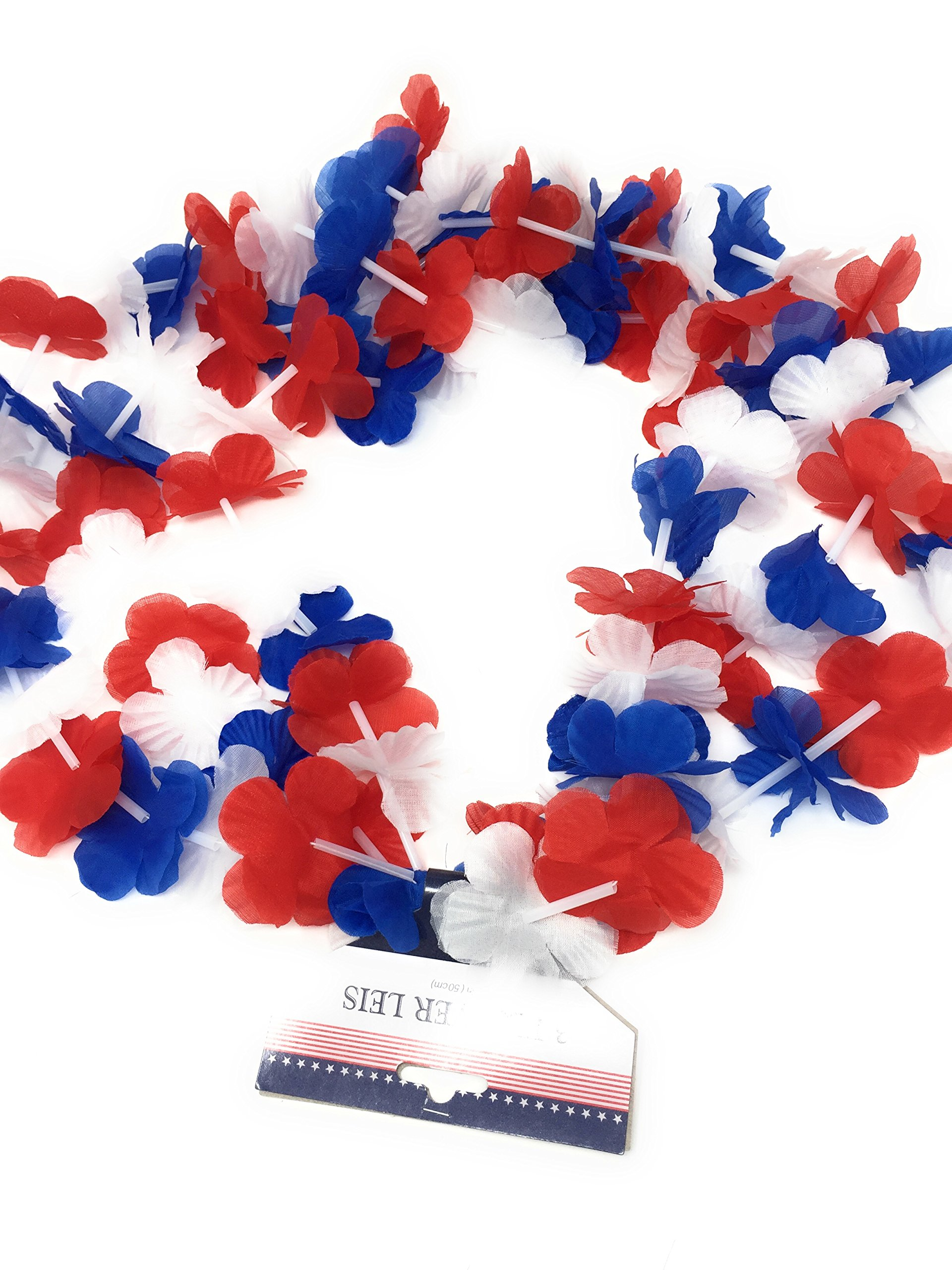 Patriotic Party Pack 3 USA Flag Glow Sticks (1) 3 Pack Patriotic Flower Leis (1) 3 Pack USA Necklaces Plus 100 Plus Tips Guide to A Safe 4th of July Celebration by Unknown (Image #3)