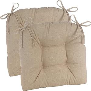 Klear Vu Wicker Universal Tufted Dining Chair Pads, 2 Pack, Husk Birch 2 Count