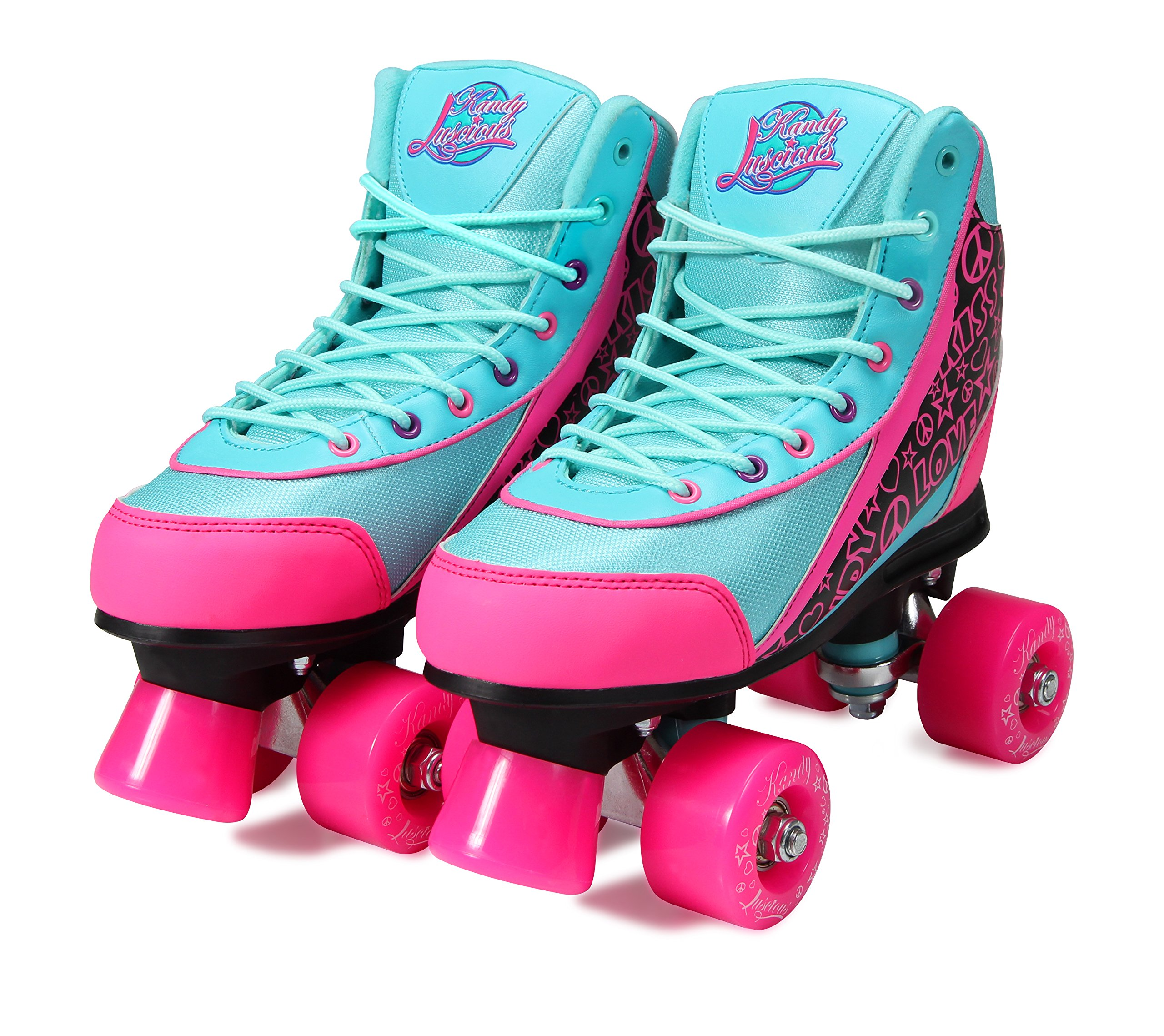 Kandy-Luscious Kid's Roller Skates - Comfortable Children's Skates with Fun Colors & Designs (Summer Days Teal and Pink) (Size 1)