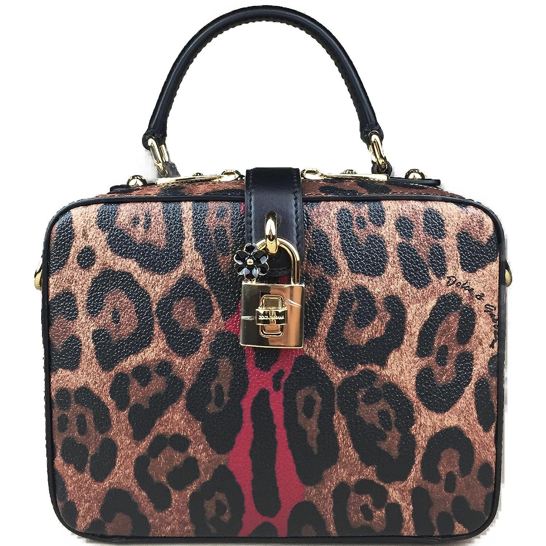 Amazon.com  DOLCE   GABBANA Leopard Red Dauphine Leather Medium Camera Box  Sicily Padlock Bag Handbag Purse Tote  Clothing 10bf48fcf105c