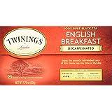Twinings Decaf Black Tea, English Breakfast, 25 Count Bagged Tea (6 Pack)