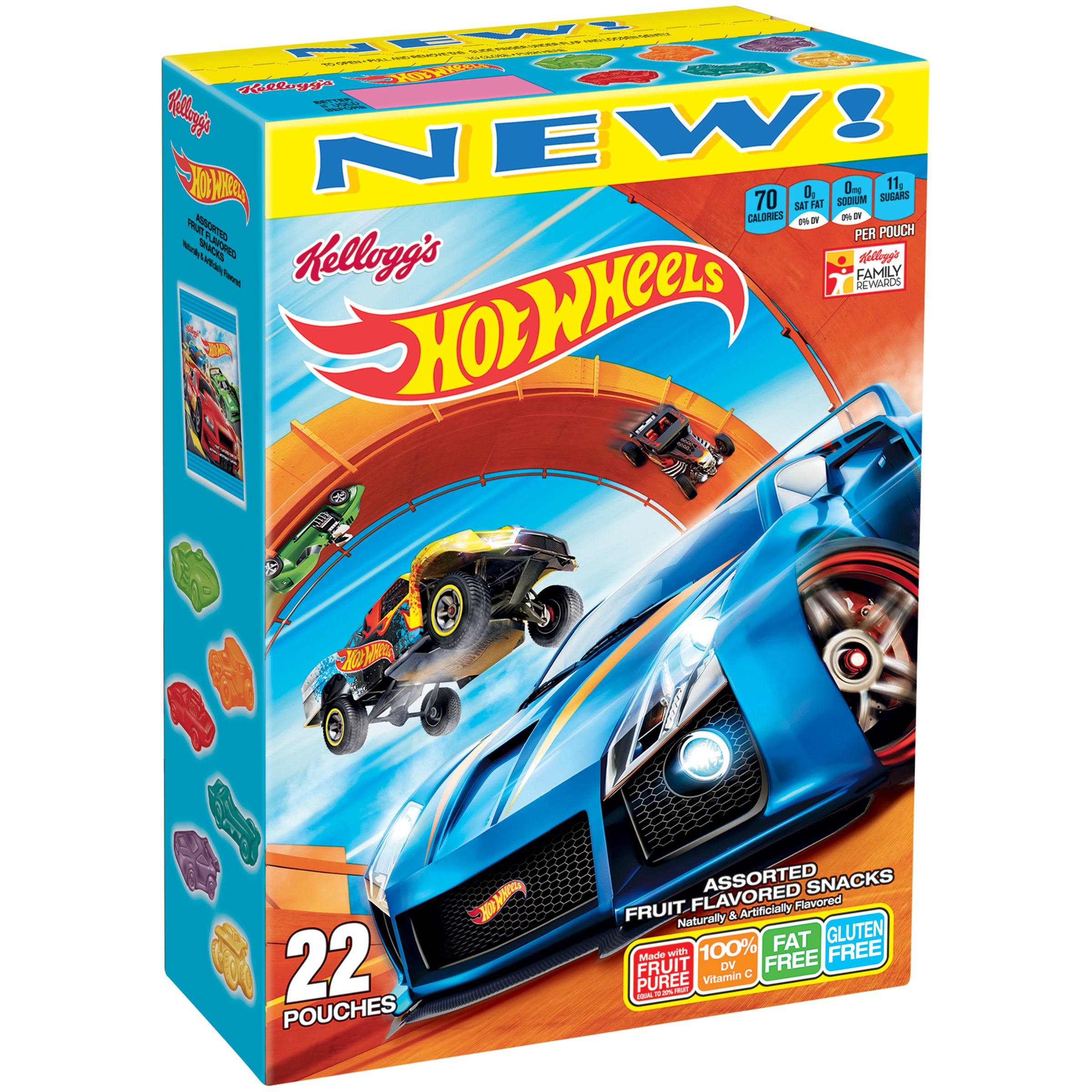 Kellogg's Hot Wheels Fruit Flavored Snacks, 22 Count, 17.6 Ounce