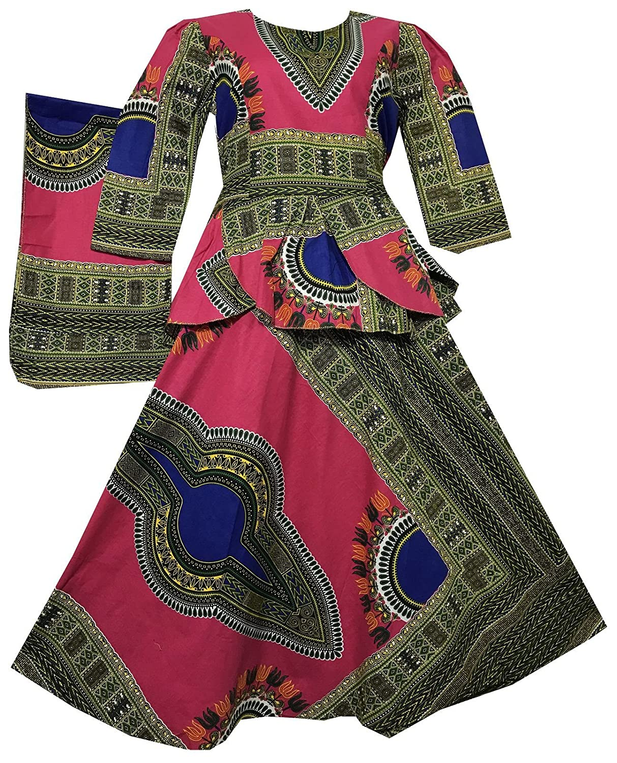 f39818d2283 Amazon.com  Decoraapparel African Girls Wax Dashiki Wrap Skirt Suit Women  Maxi Outfit Suit M