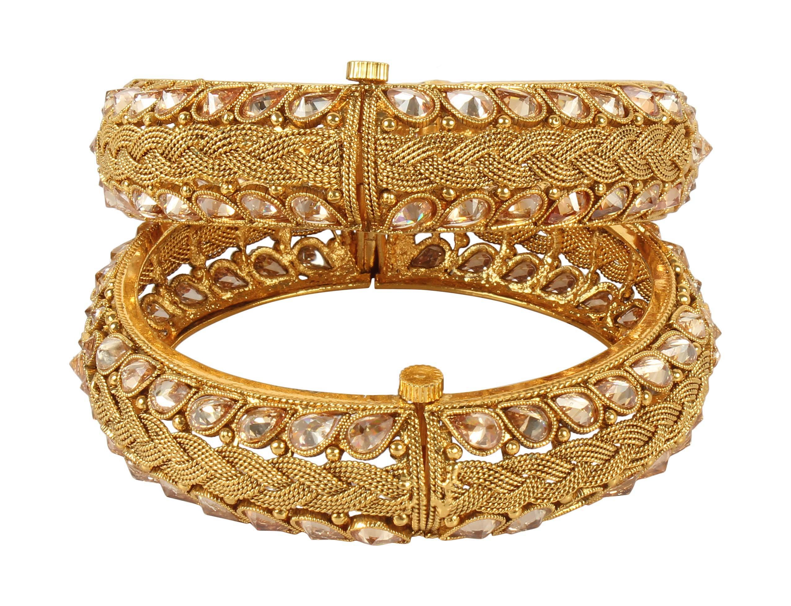 MUCH-MORE Amazing Designs Indian Polki Bangles Traditional Partywear Jewelry (352, 2.6) by MUCH-MORE (Image #2)