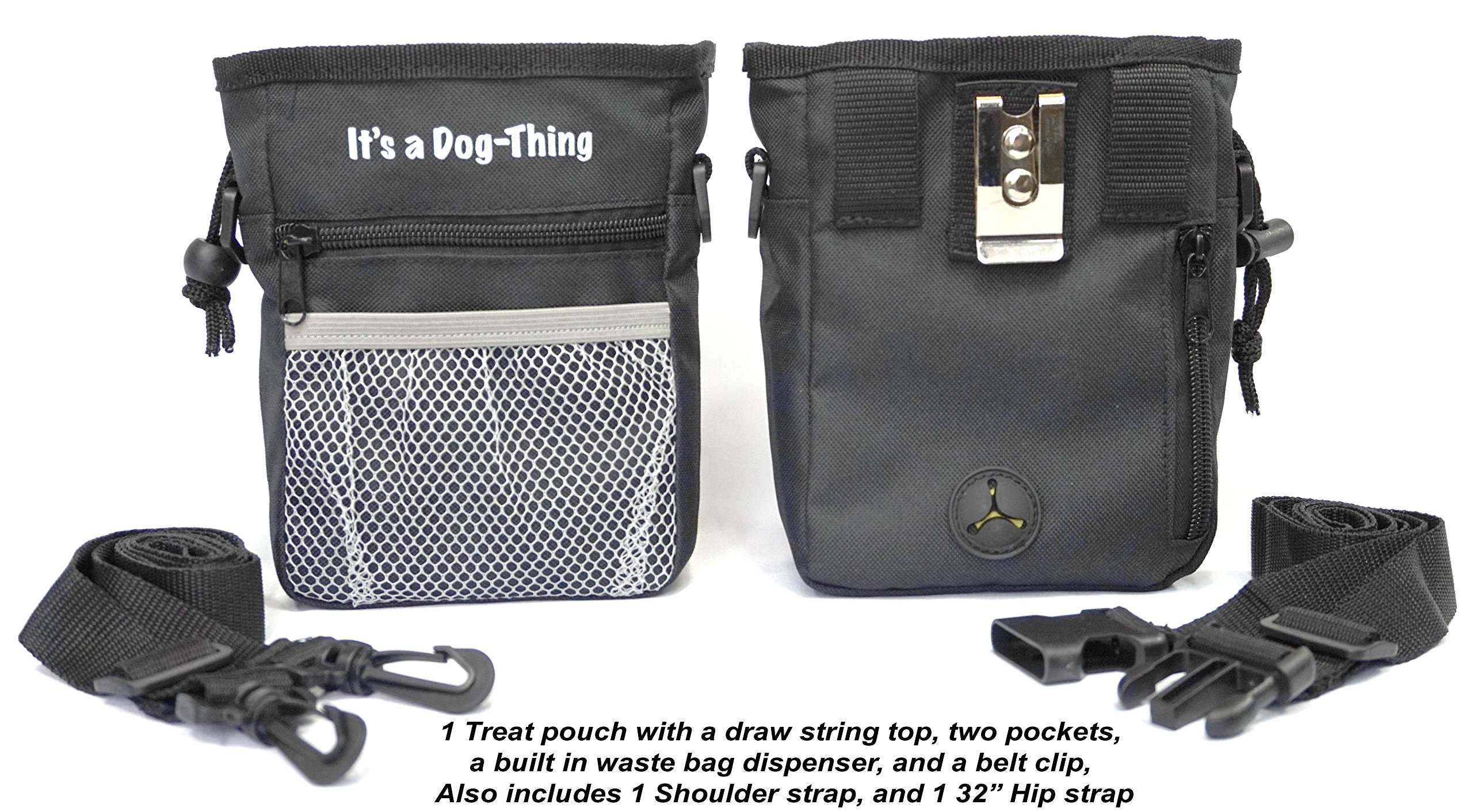 Dog Treat Pouch with Built in Waste Bag Dispenser, Two Pockets, and Belt Clip. This Black Training Accessory is Best for Dog Walking, obedience Training, and clicker Training by Dog-Thing