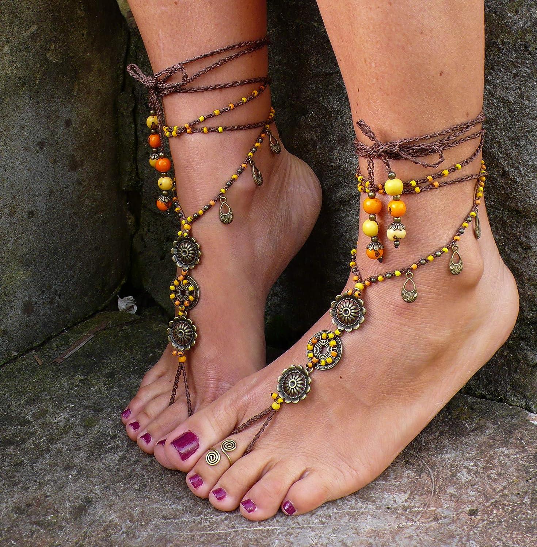 Pano Para Tanto Morning Sun Mandala Barefoot Sandals Foot Jewelry