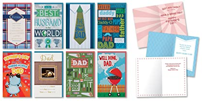 Amazon happy fathers day cards pack of 8 different handmade happy fathers day cards pack of 8 different handmade greeting cards embellished with love boxed fathers m4hsunfo
