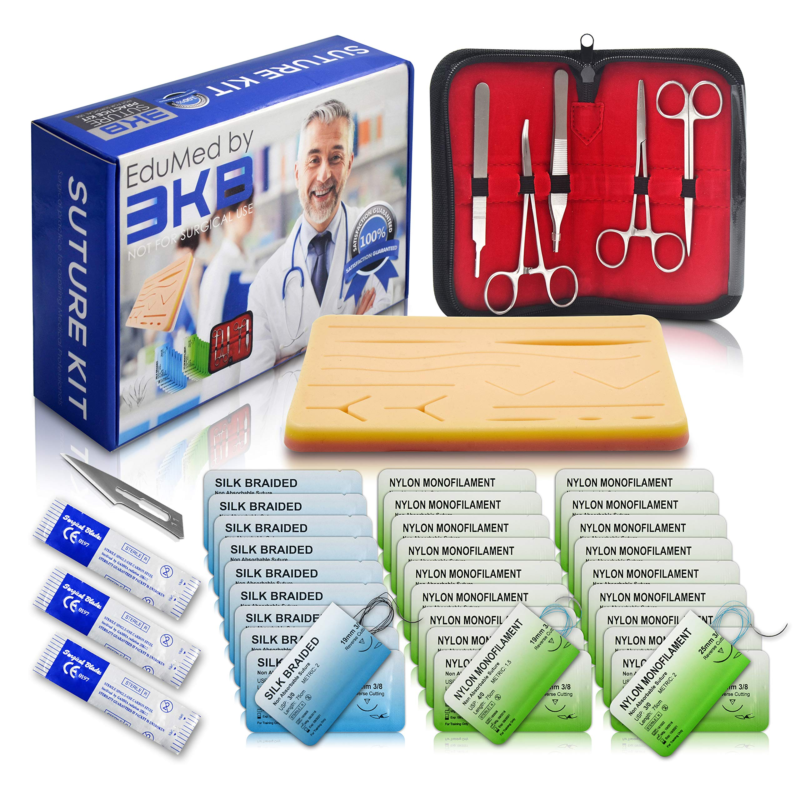 EduMed 41 Piece Practice Suture Kit - Medical & Veterinary Student Training