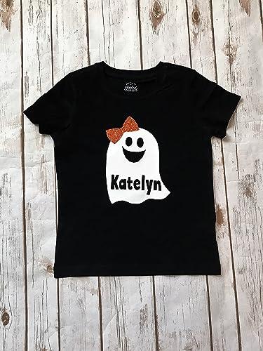 60223fbca2d Amazon.com  Halloween Ghost Shirt Halloween Shirt Ghost Monogram  Personalized Halloween Tee Name Halloween Shirt Girls Halloween Outfit Boys  Halloween  ...