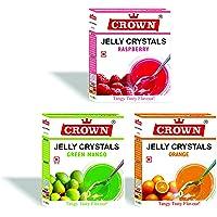 Crown Jelly Crystals 270G (Gelatin-Based) - 90G X Pack Of 3 Flavors: Raspberry, Orange, Green Mango