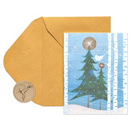 papyrus snowbird and christmas tree christmas cards boxed with gold envelopes 20 count