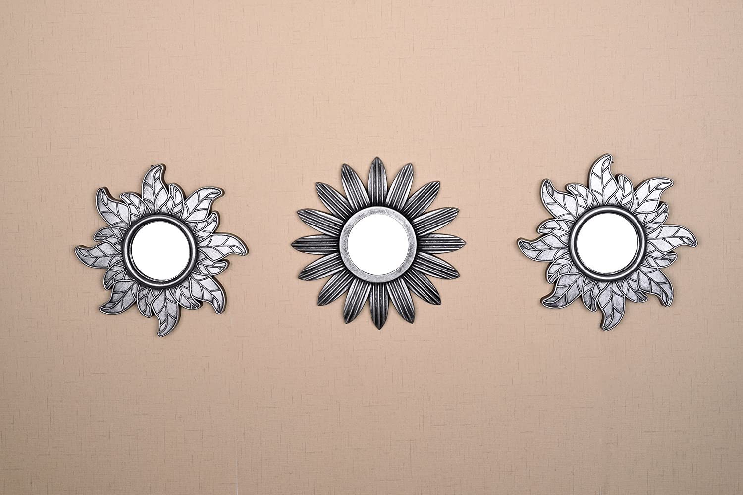 All American Collection New Seperated 3 Piece Decorative Mirror Set, Wall Accent Display (Silver Flower and Sun)