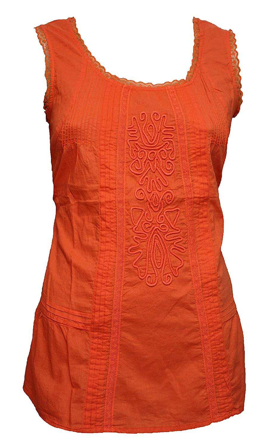 2a641ce8eff Burnt Orange Sleeveless Cotton Tunic With Raised Decoration. Sizes 8-18:  Amazon.co.uk: Clothing