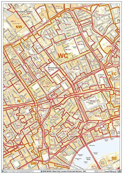 Map City London.Amazon Com West City London Wc Postcode Wall Map 33 25 X 47