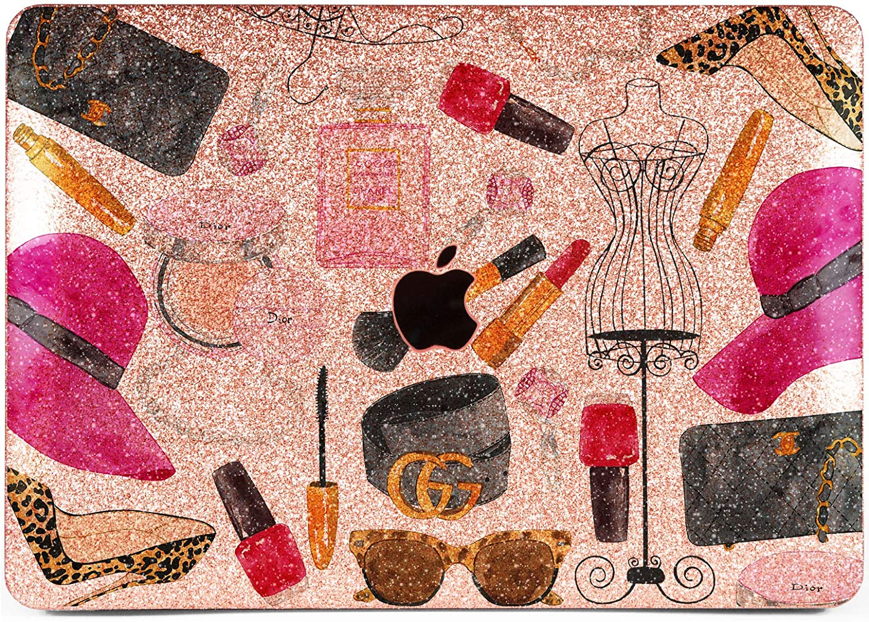 Lex Altern Glitter Case for Apple MacBook Air 13 inch Pro Mac 15 Retina 12 11 2020 2019 2018 2017 Fashion Hard Bling Sparkly Cover Rose Gold Glossy Glam Brandy Rhinestone Accessories Plastic Print