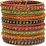 Mansiyaorange Rajhasthani Style Traditional Party Wear Thread Work Multi Color Bangles for Women(Premium Thread Range)