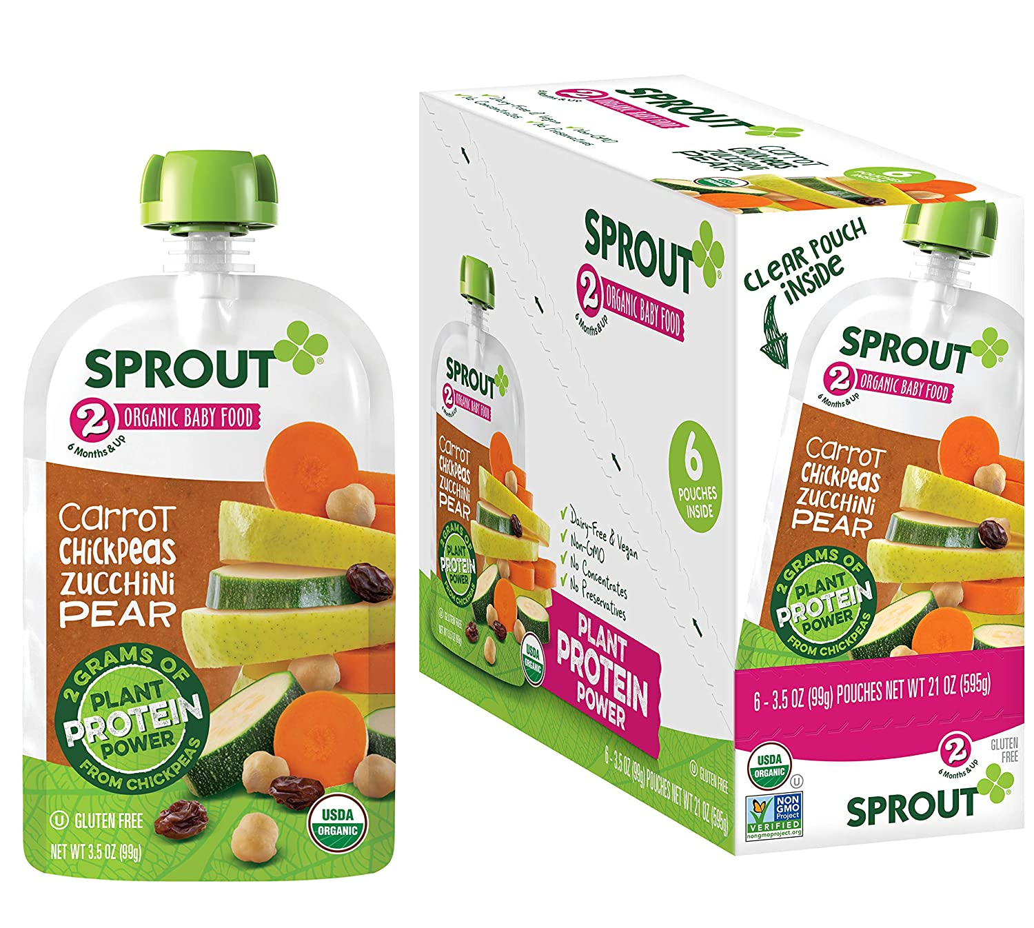 Sprout Organic Stage 2 Baby Food Pouches with Plant Powered Protein, Carrot Chickpeas Zucchini Pear, 3.5 Ounce (Pack of 12)